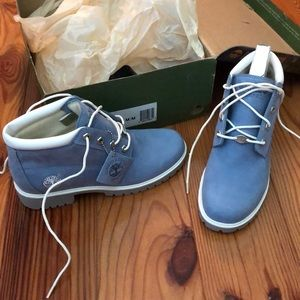Blue suede Timberlands